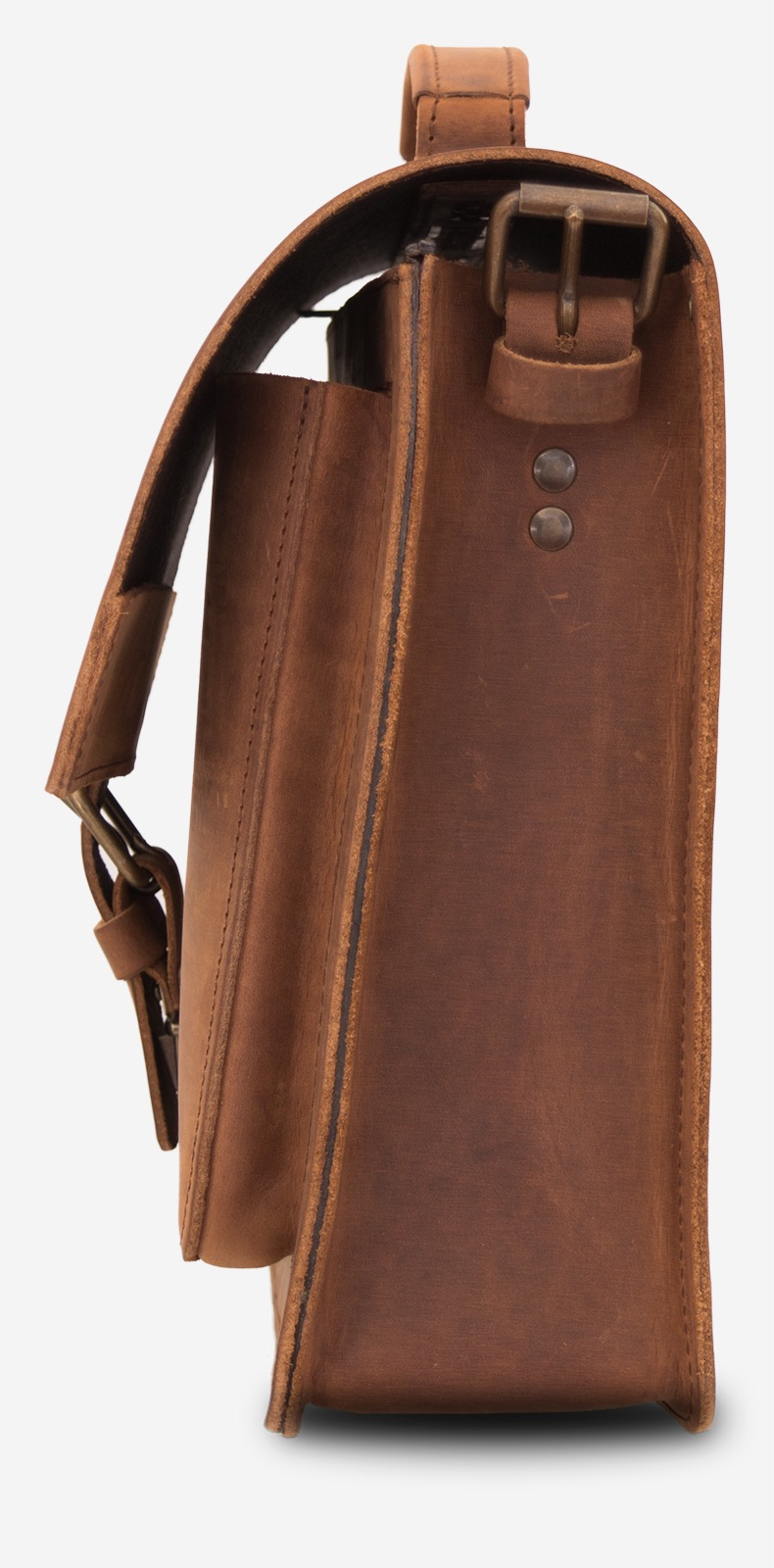 Side view of the brown leather briefcase with a single compartment and a front pocket.