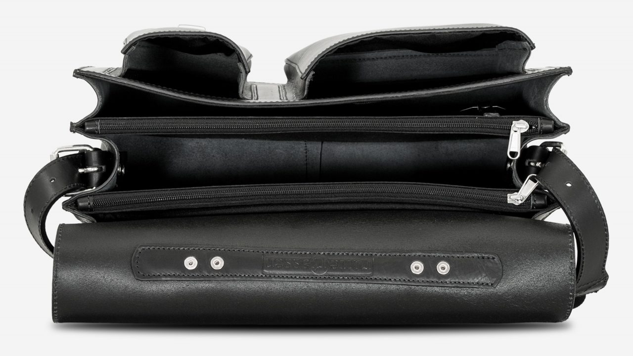 Inside view of black leather laptop satchel bag with 3 gussets and asymmetric front pockets 112342.