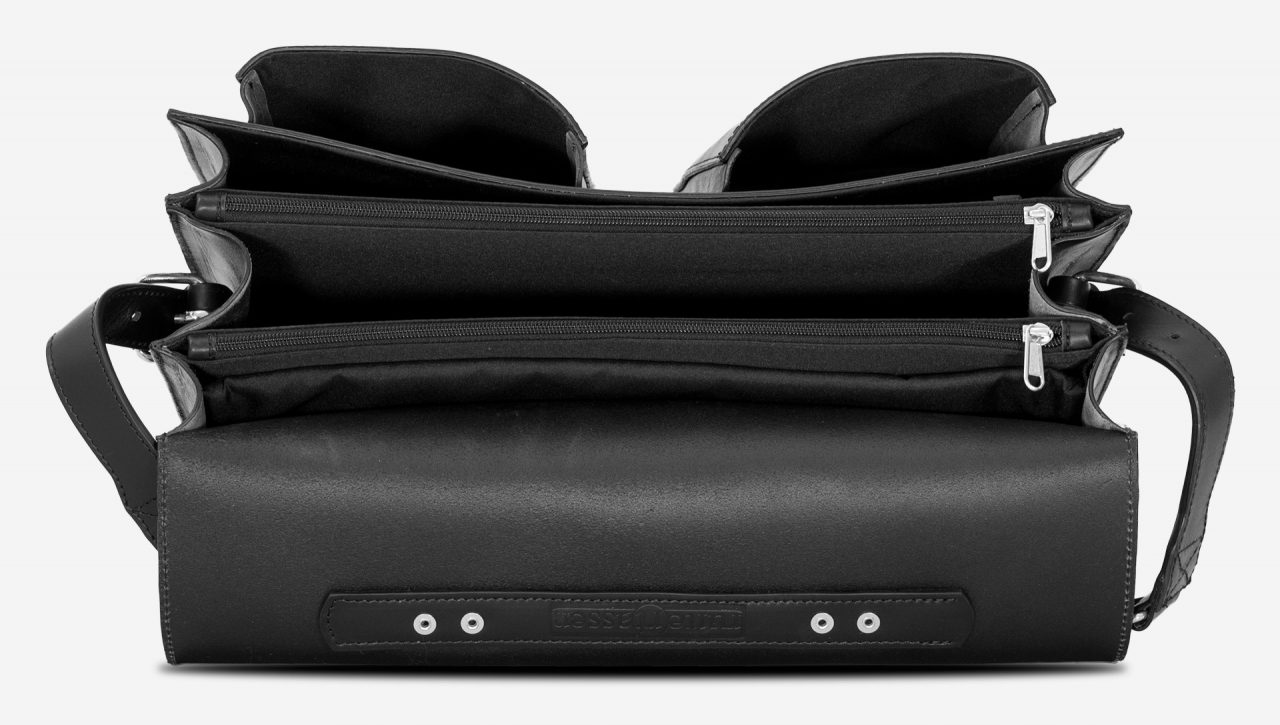 Inside view of black leather laptop satchel bag with 3 gussets and symmetric front pockets 112358.