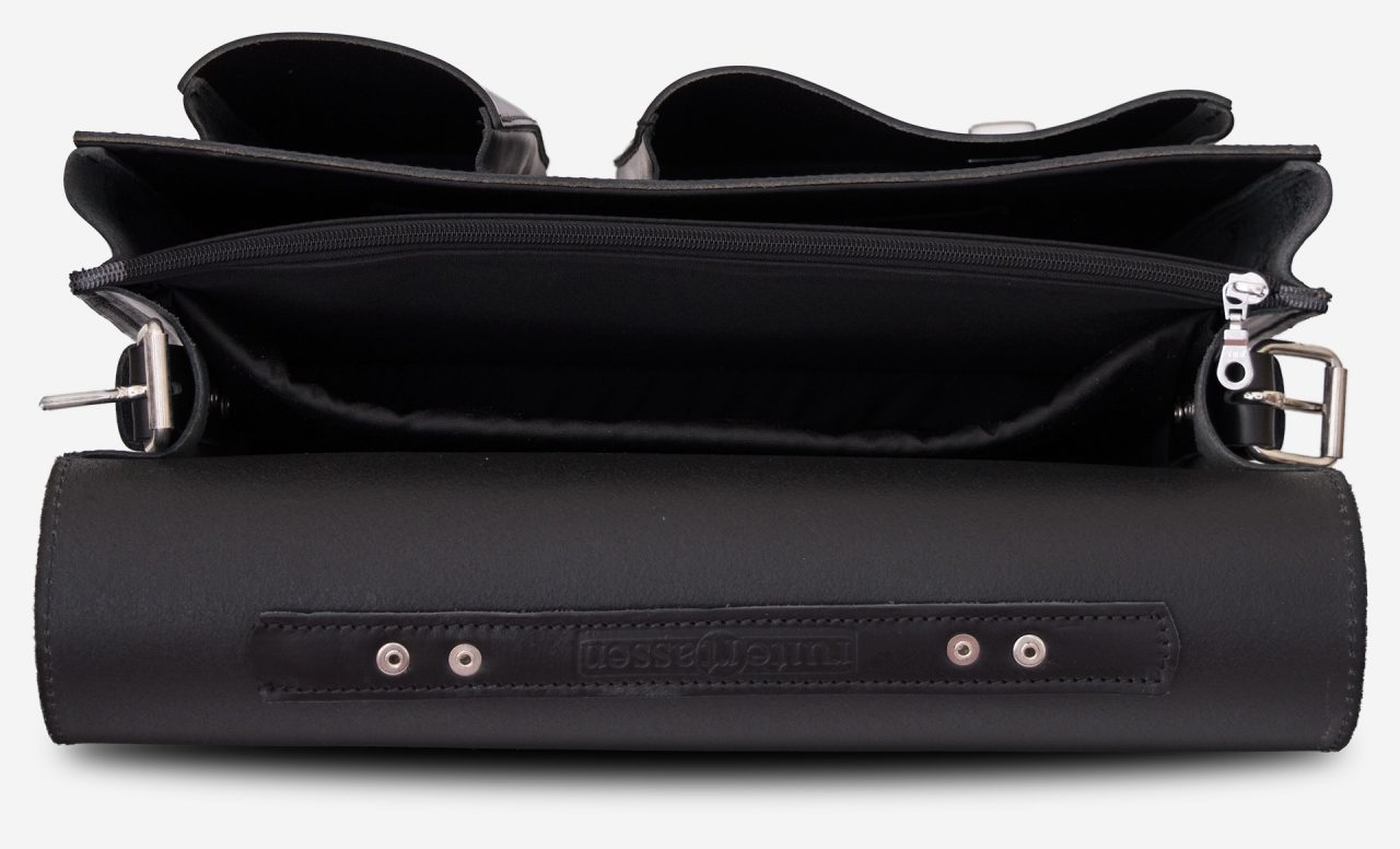 Inside view of black leather laptop satchel bag with 3 gussets and asymmetric front pockets 112337.