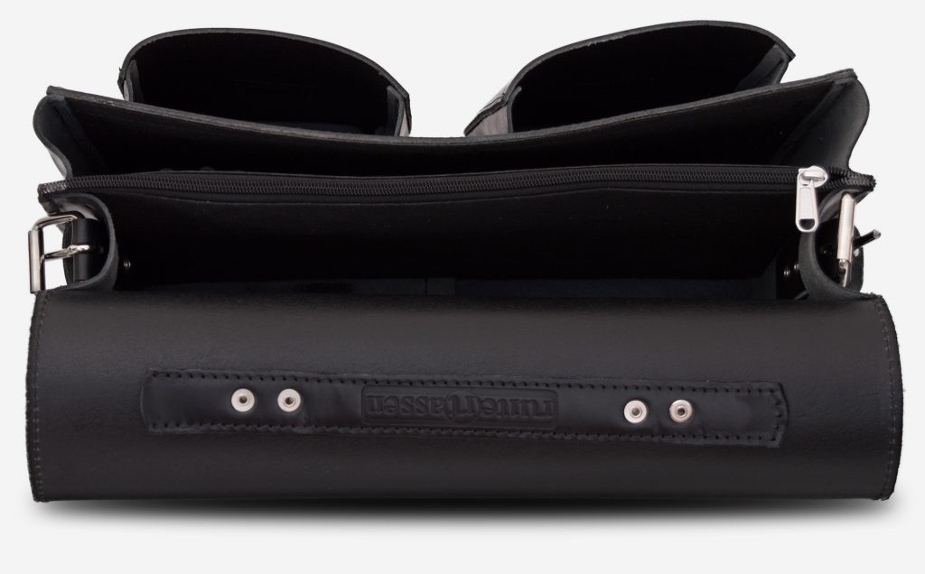 Inside view of black leather satchel briefcase with front pockets 112133.