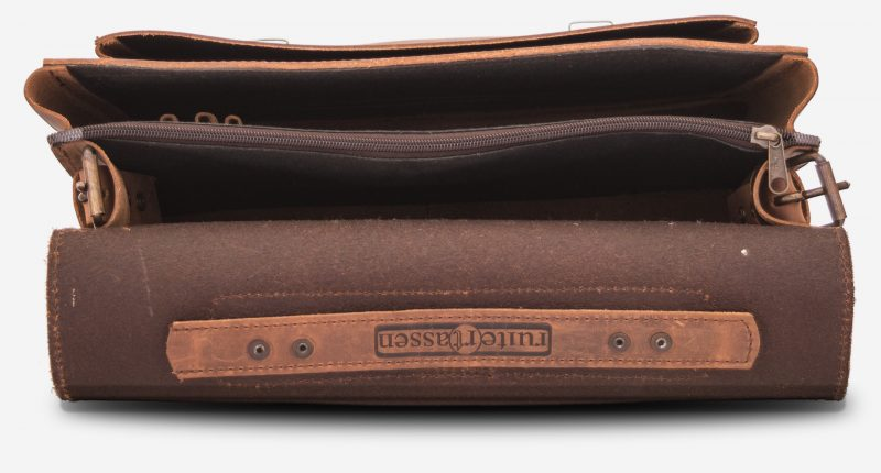 Inside view of the student brown leather satchel with 2 compartments.