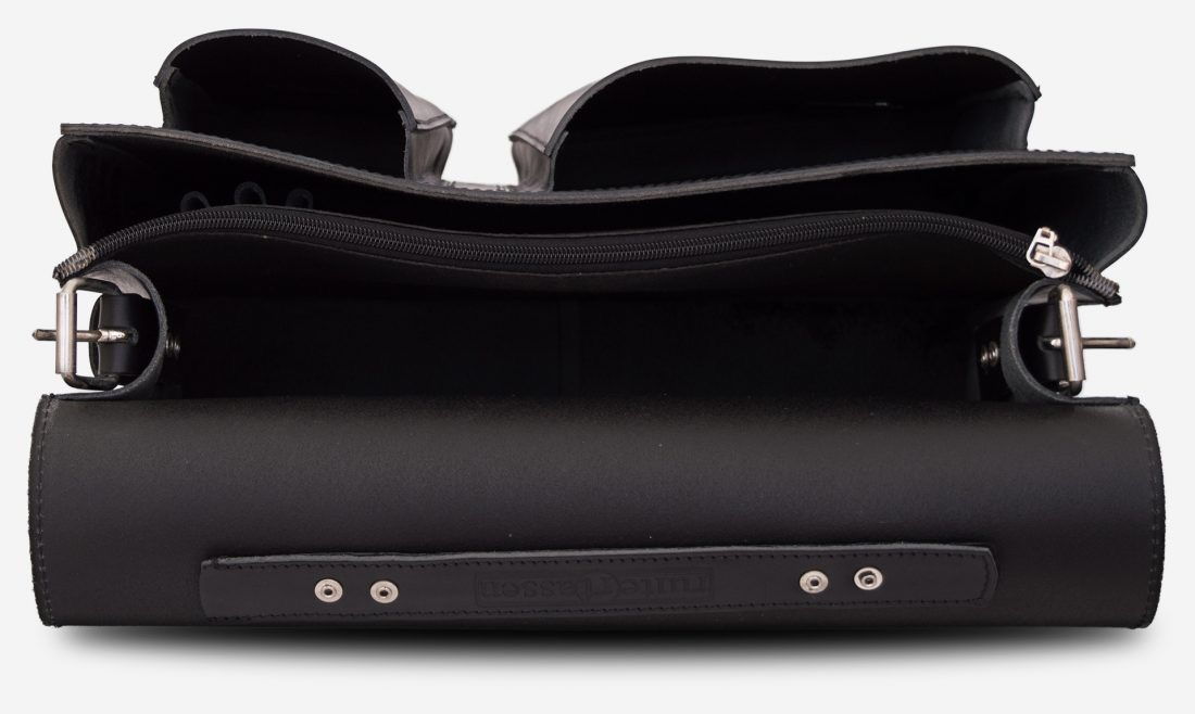 Inside view of black leather satchel briefcase with asymmetric front pockets 112137.
