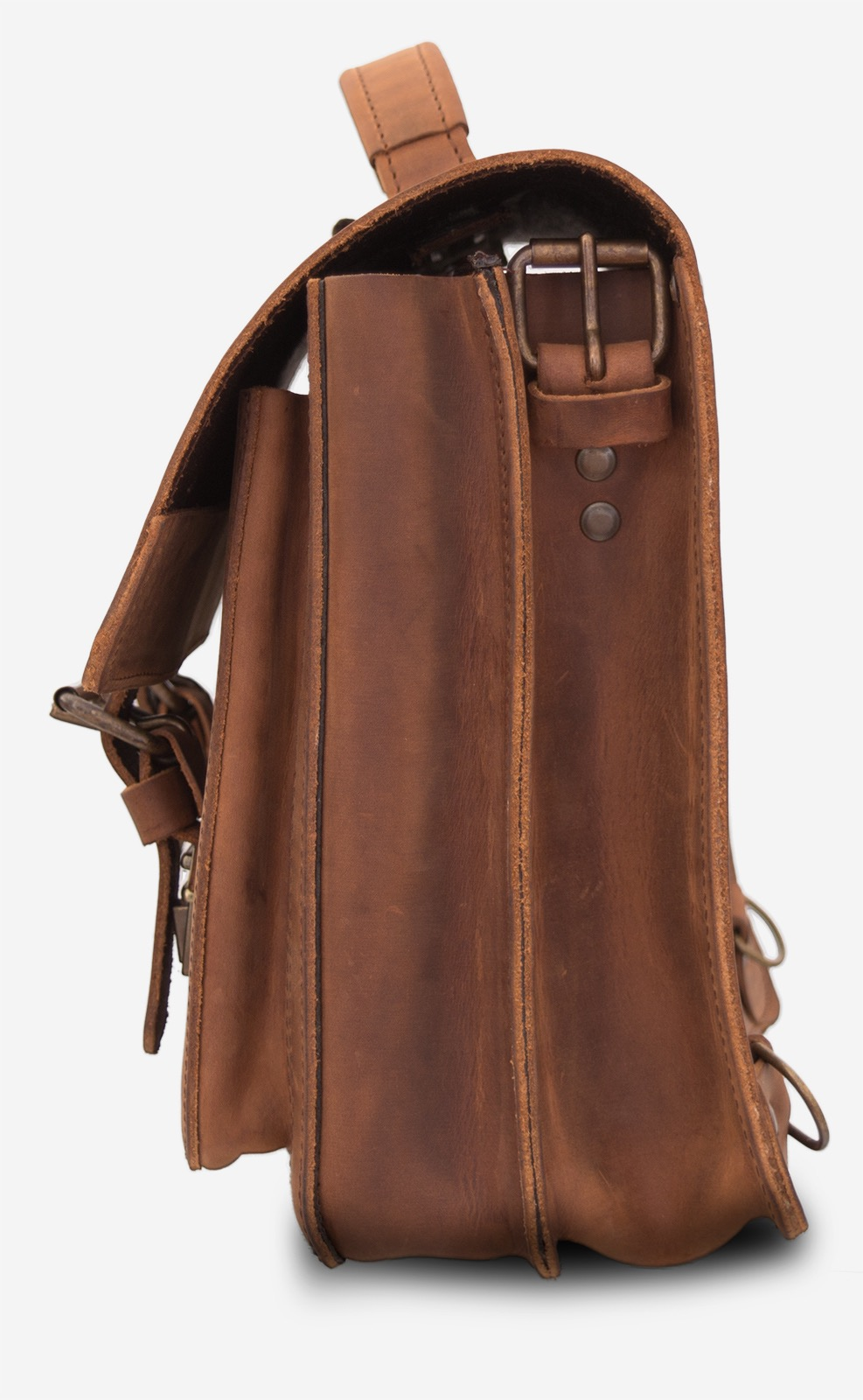 Side view of the student brown leather satchel with 2 compartments and a front pocket.