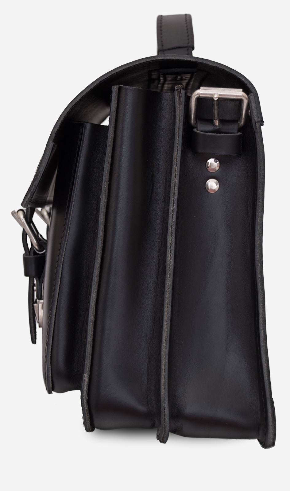 Side view of black leather satchel backpack for adults with 2 gussets and symmetric front pockets 112233.