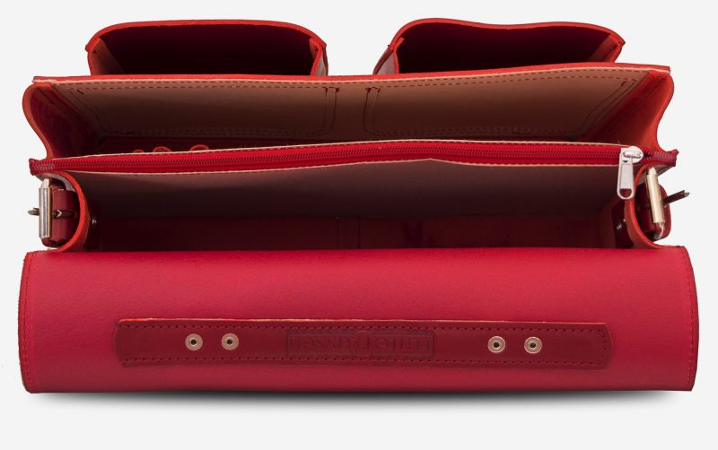 Inside view of red leather satchel briefcase bag with 2 gussets for women - 152133.