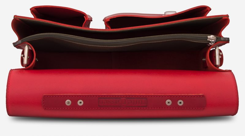 Inside view of red leather satchel briefcase bag with 2 gussets and asymmetric front pockets for women - 152137.
