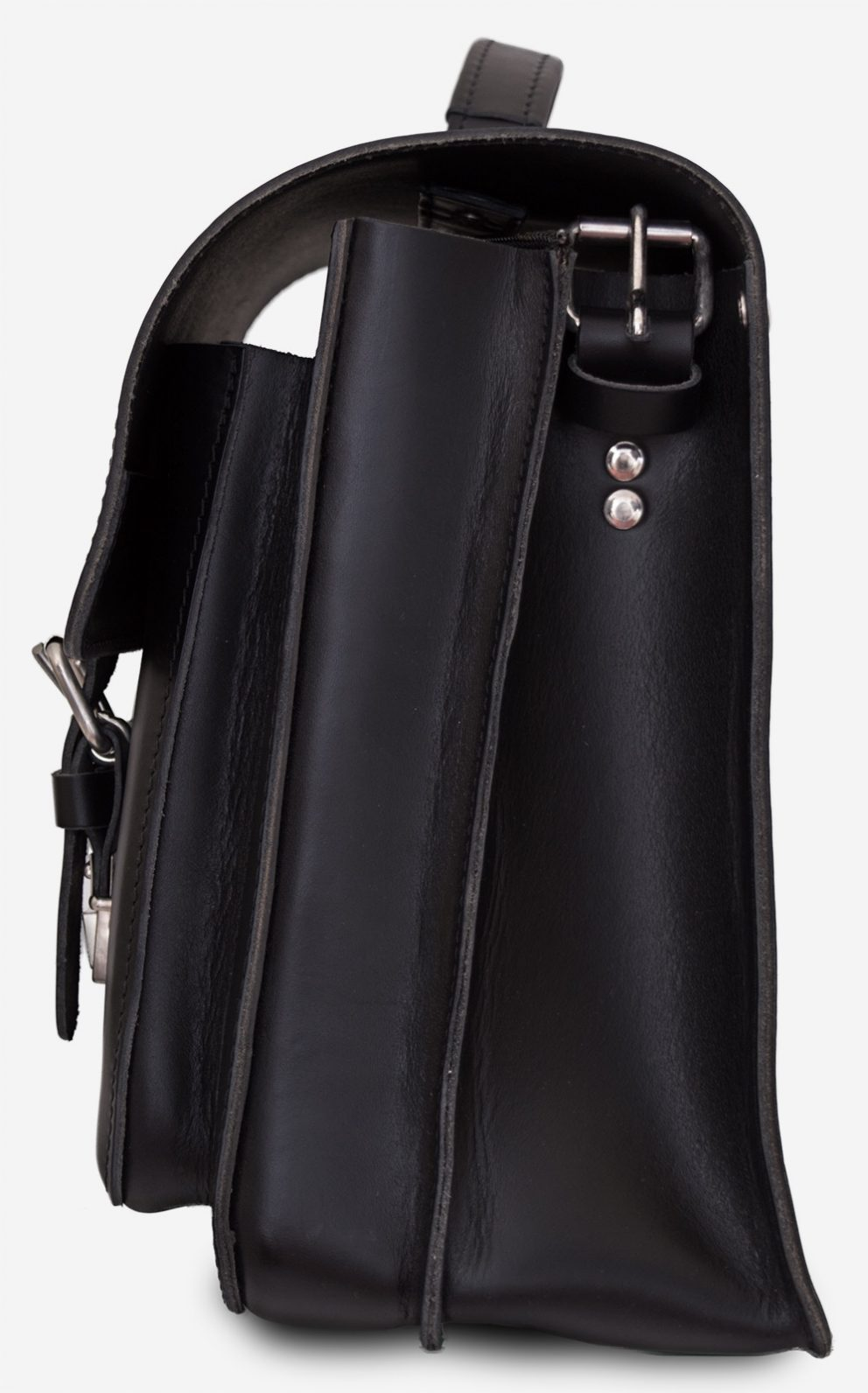 Side view of black leather satchel briefcase with asymmetric front pockets 112137.
