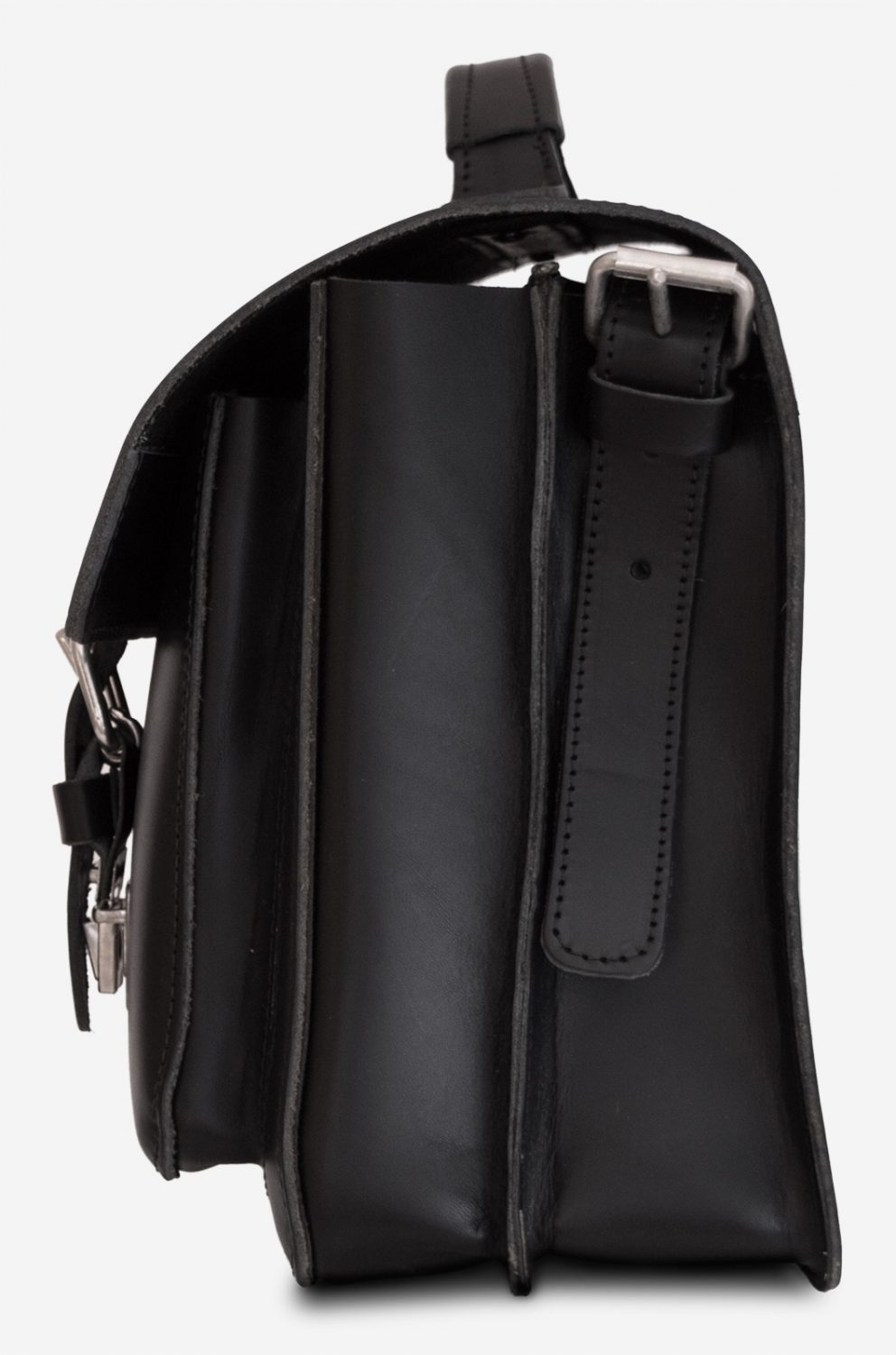 Side view of black leather student satchel with 2 gussets and large front pocket 112140.