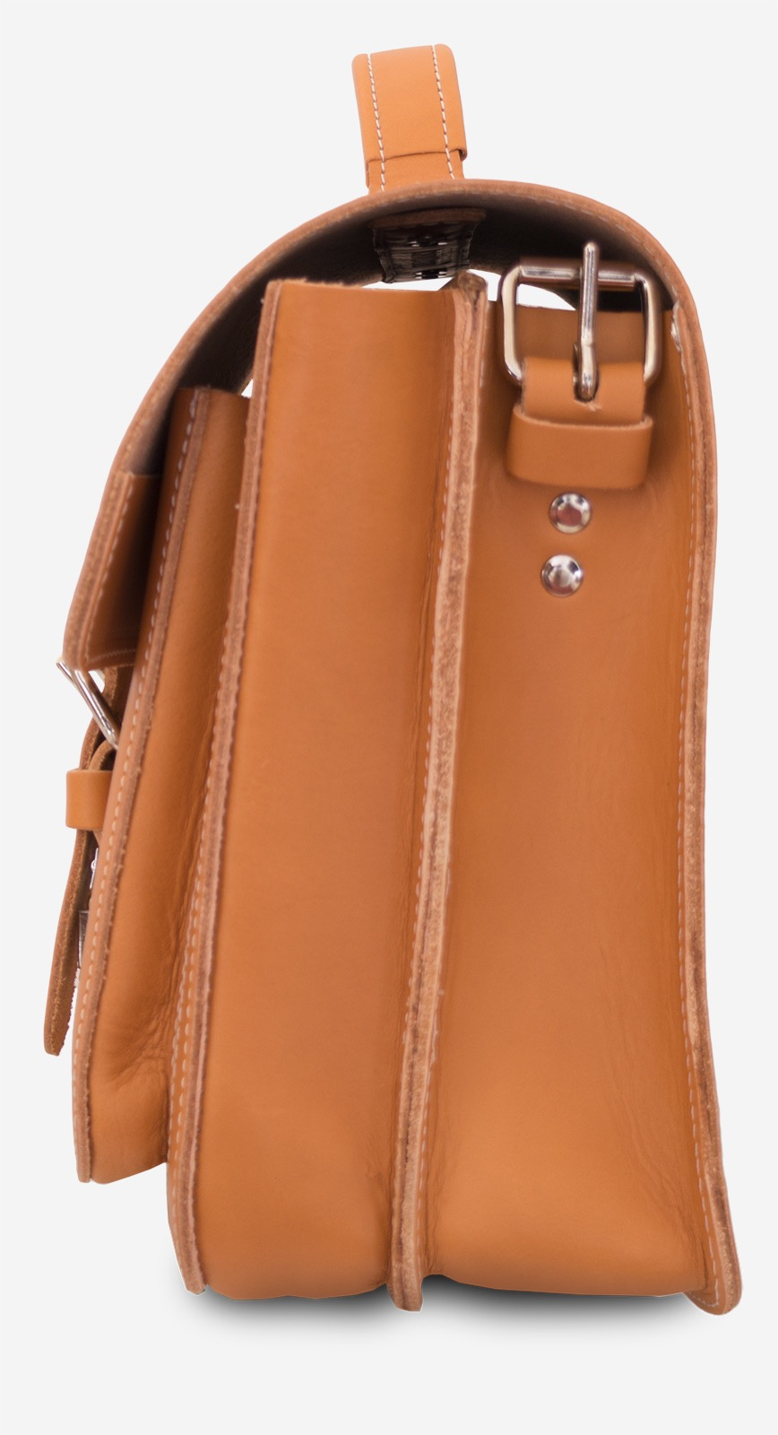 Side view of the student tan leather satchel with 2 compartments and a front pocket.