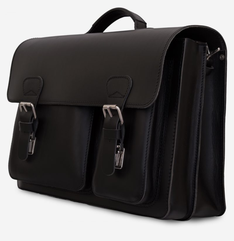 Front view of black leather satchel briefcase with asymmetric front pockets 112137.