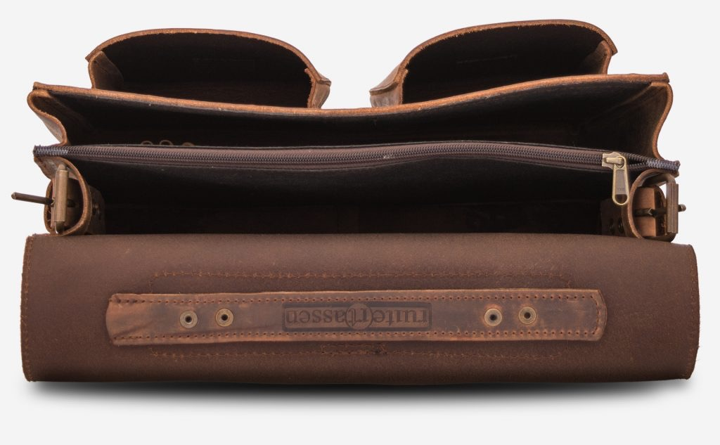 Inside view of Professor brown leather satchel backpack for adults.