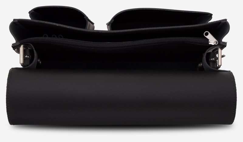 Inside view of black leather messenger bag with 2 compartments and asymmetric front pockets - 112537.