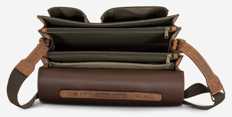 Inside view of large Ruitertassen brown leather satchel with 3 compartments and laptop pocket.