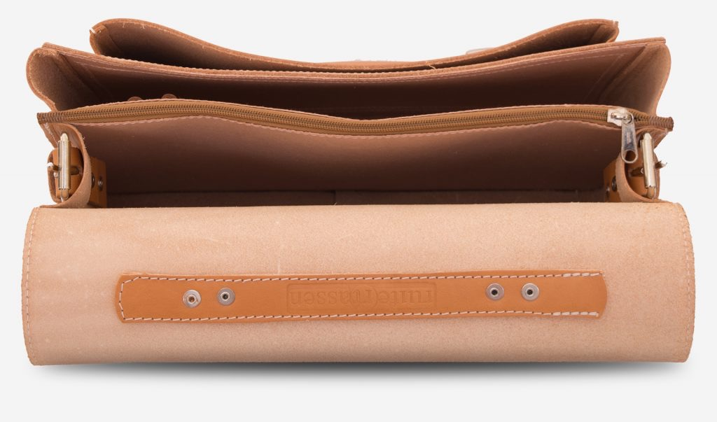 Inside view of the student tan leather satchel with 2 compartments.