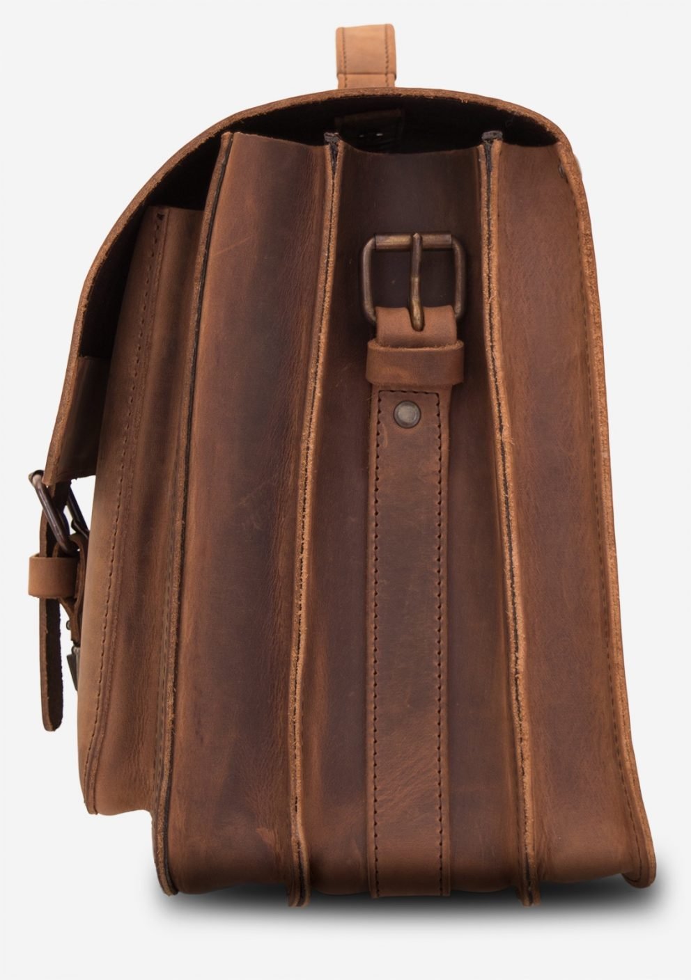Side view of the large Professor brown leather satchel with 3 gussets and 2 front pockets.