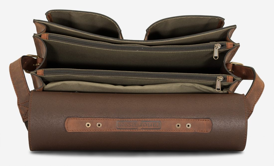 Open large brown leather satchel with 3 compartments and laptop pocket.