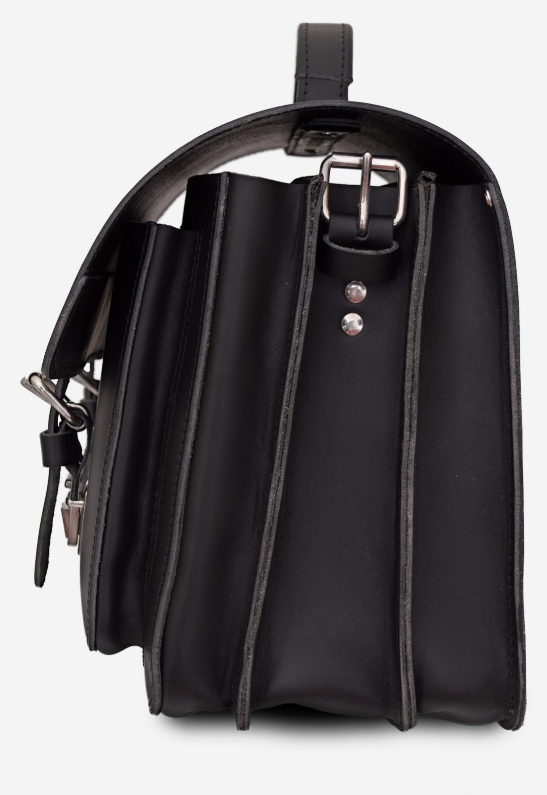 Side view of black leather satchel briefcase with 3 gussets and symmetric front pockets 112139.