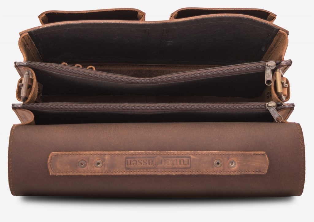 Inside view of large 3 compartments brown leather satchel with 2 front pockets.
