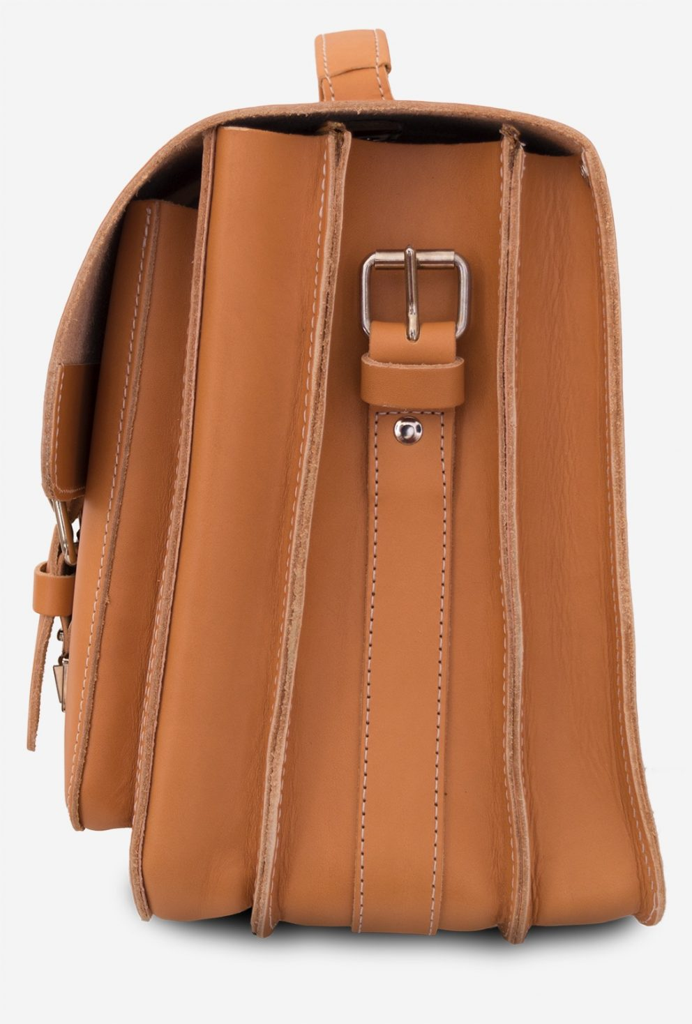 Side view of the large Professor tan leather satchel with 3 gussets and 2 front pockets.