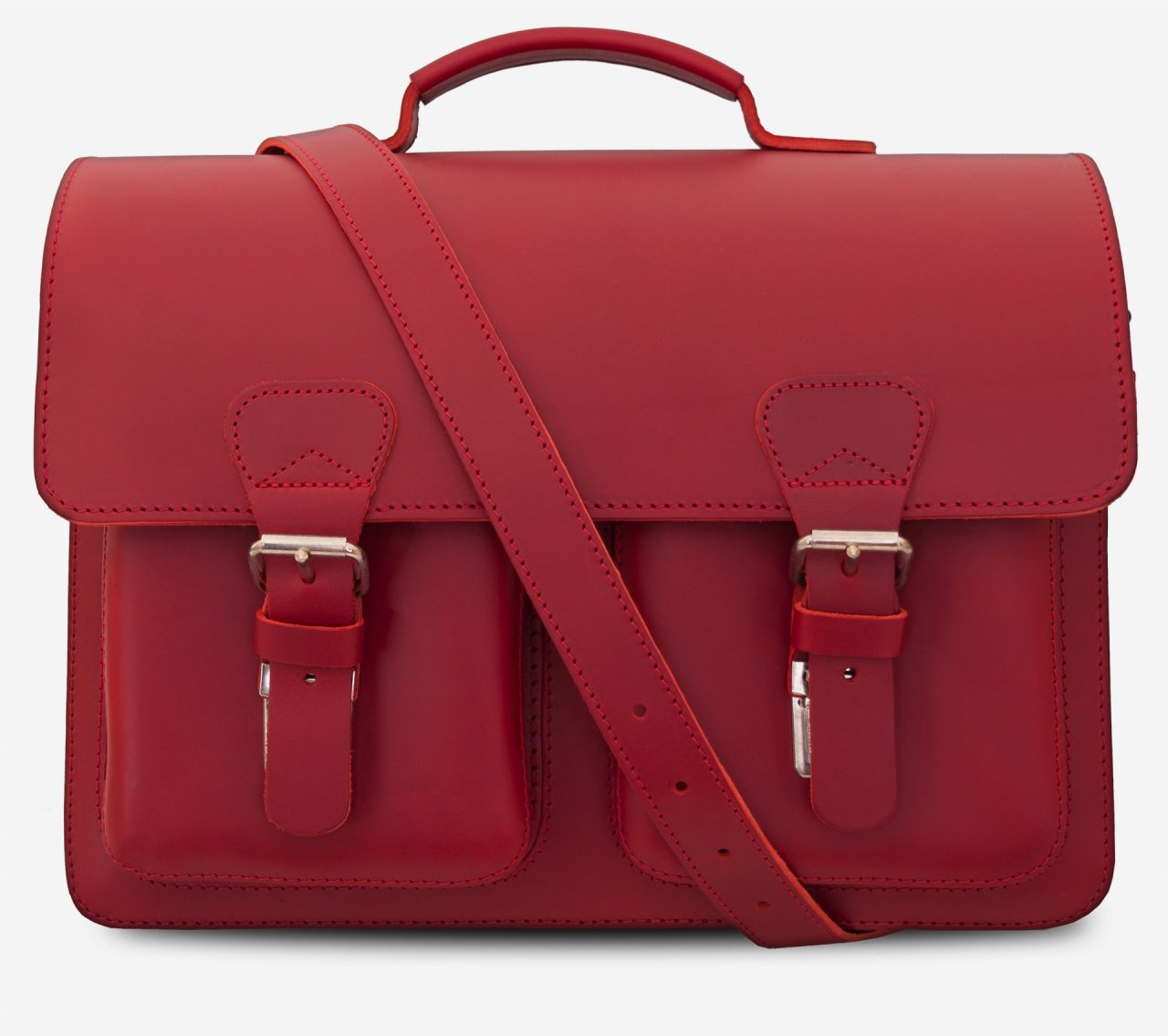 Front view of red leather satchel briefcase bag with 3 gussets and symmetric front pockets for women - 152139.