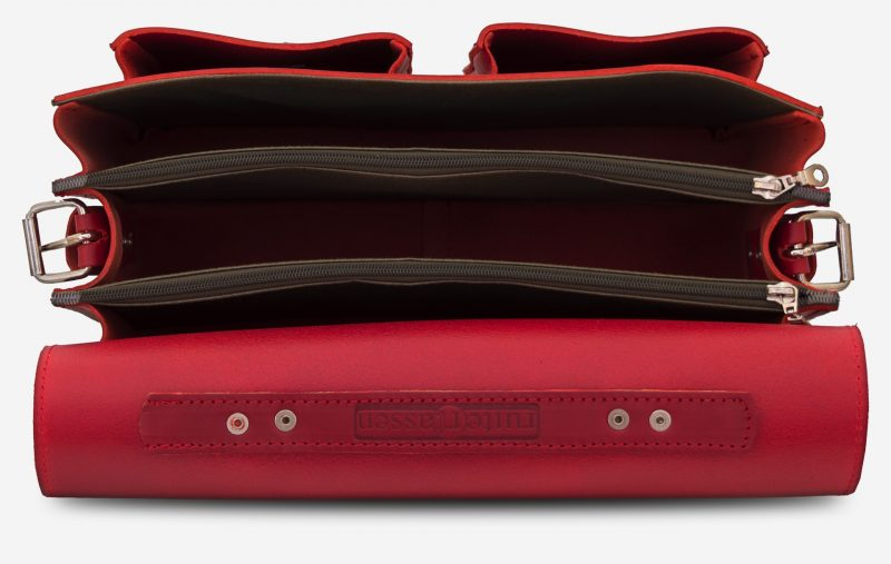 Inside view of red leather satchel briefcase bag with 3 gussets and symmetric front pockets for women - 152139.