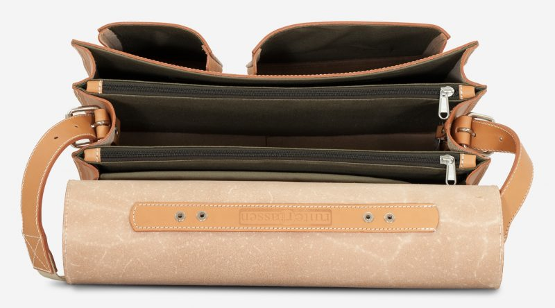 Inside view of large Ruitertassen tan leather satchel with 3 compartments and laptop pocket.
