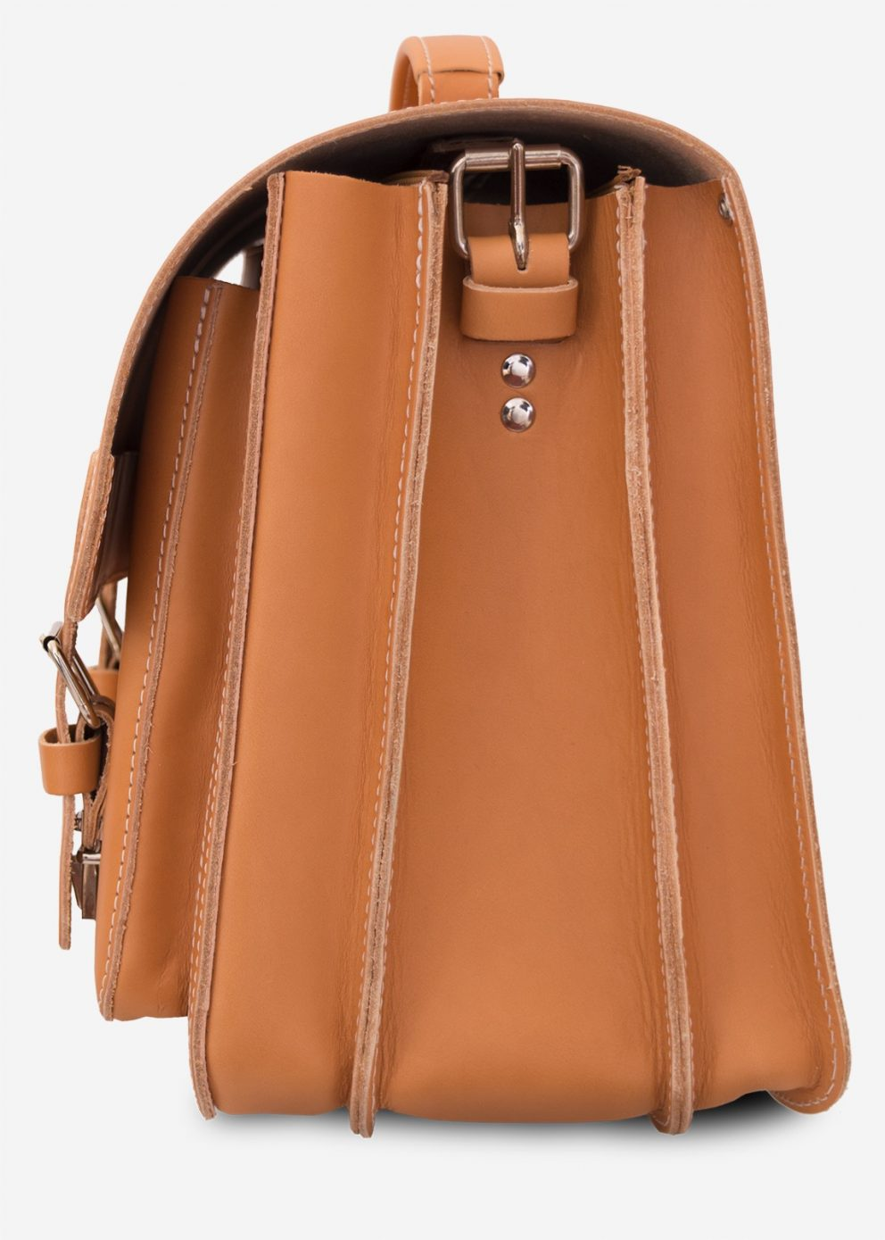 Side view of large tan leather satchel with 2 compartments and front pockets.