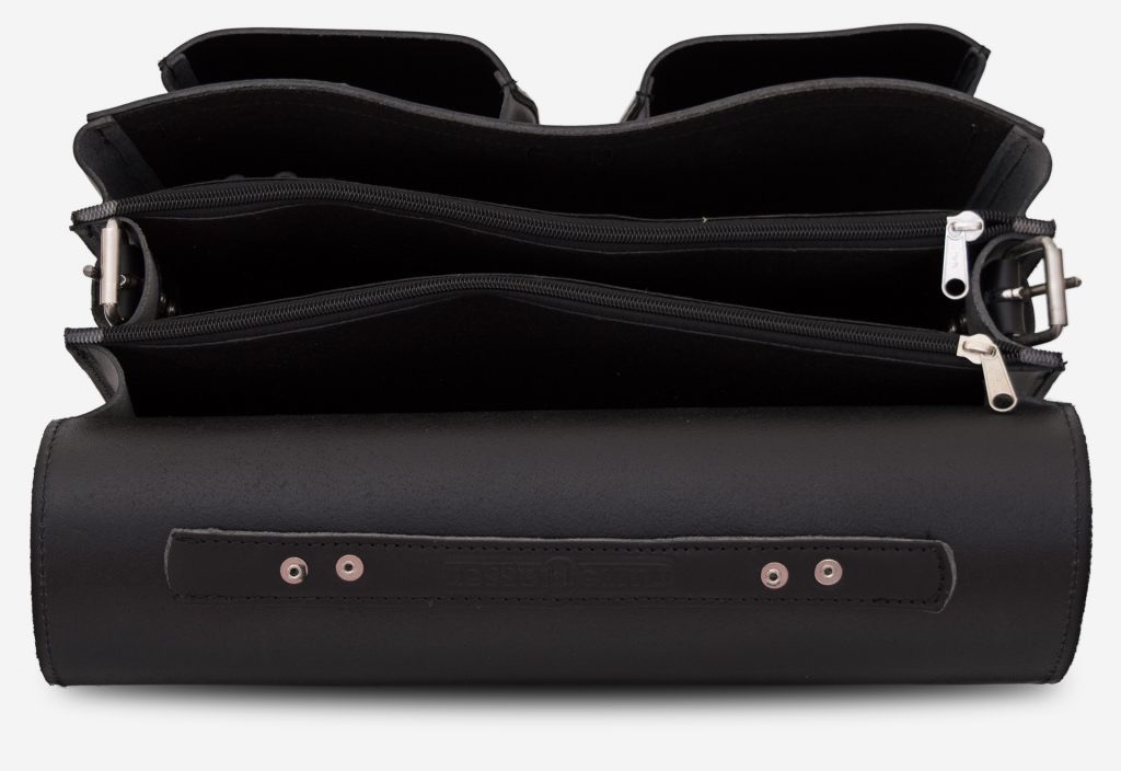 Inside view of black leather satchel briefcase with 3 gussets and symmetric front pockets 112139.