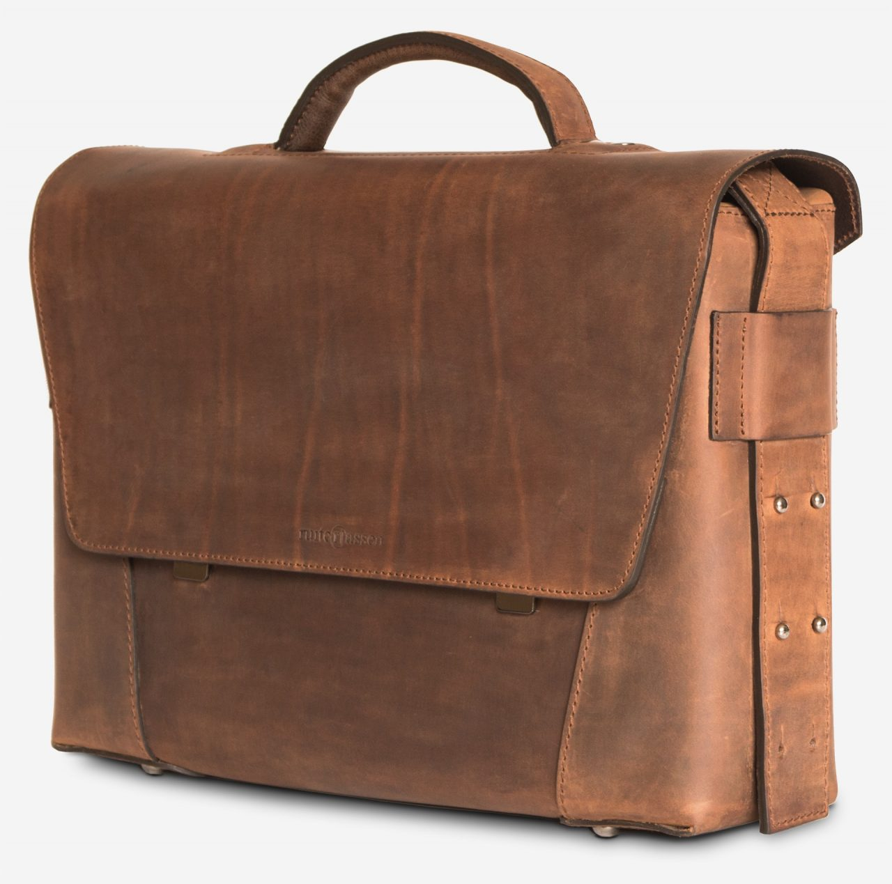 Side view of the vegetable-tanned brown leather briefcase bag with laptop pocket.