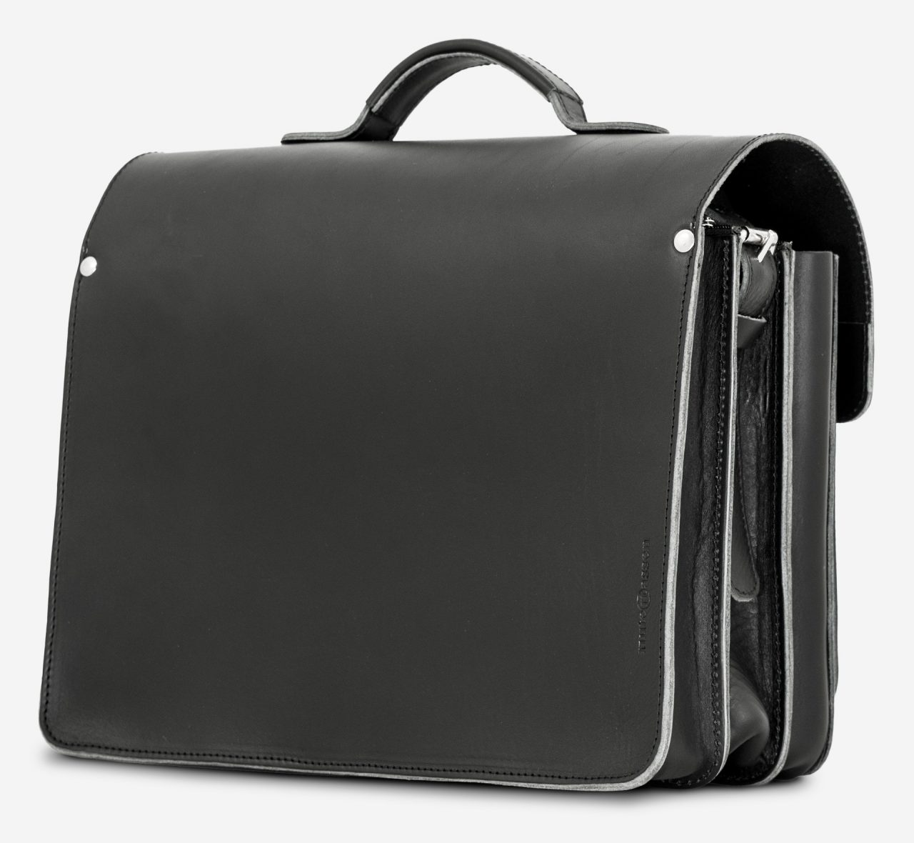 Back view of large black leather briefcase with 3 compartments and asymmetric front pockets 112142.