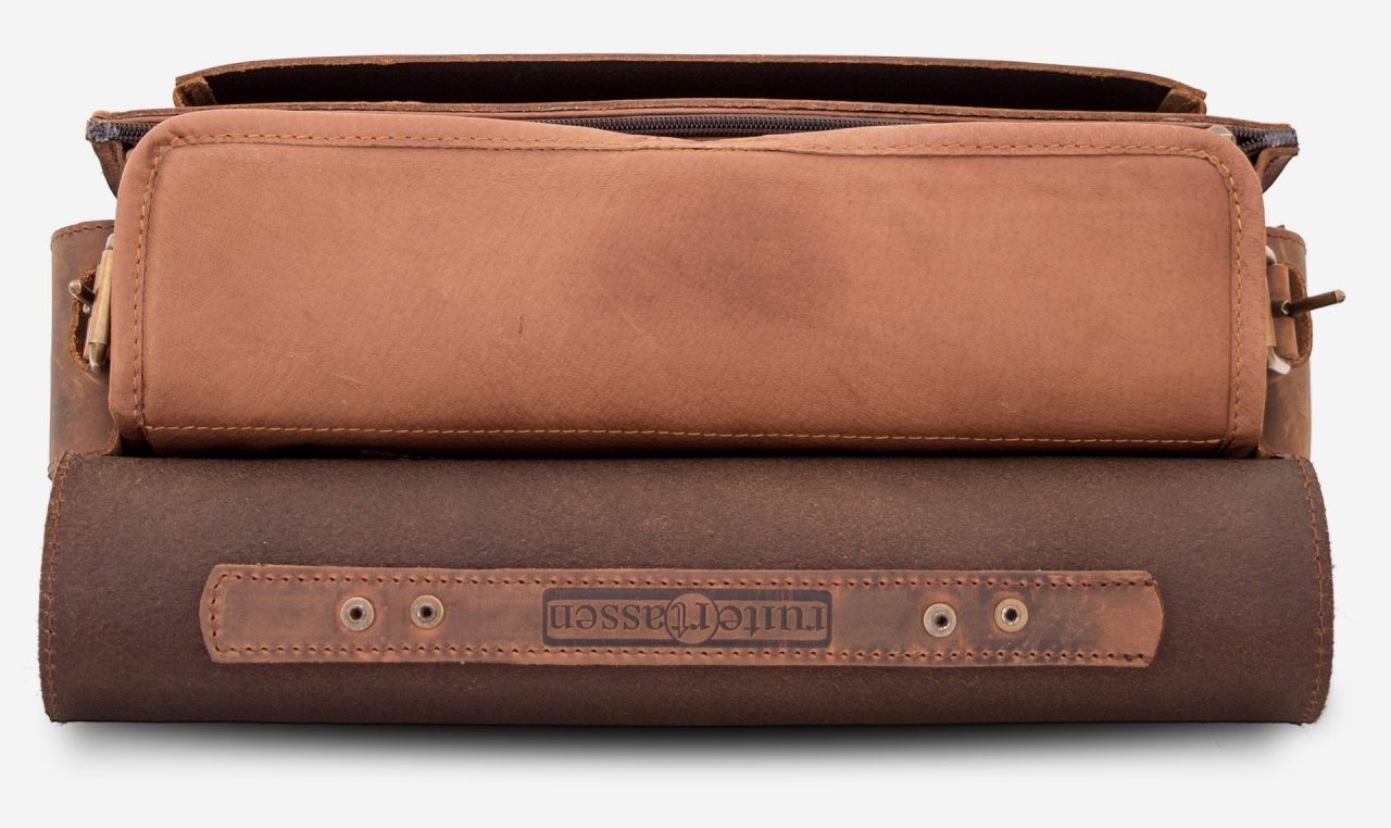 Brown leather camera bag with removable insert 733103.
