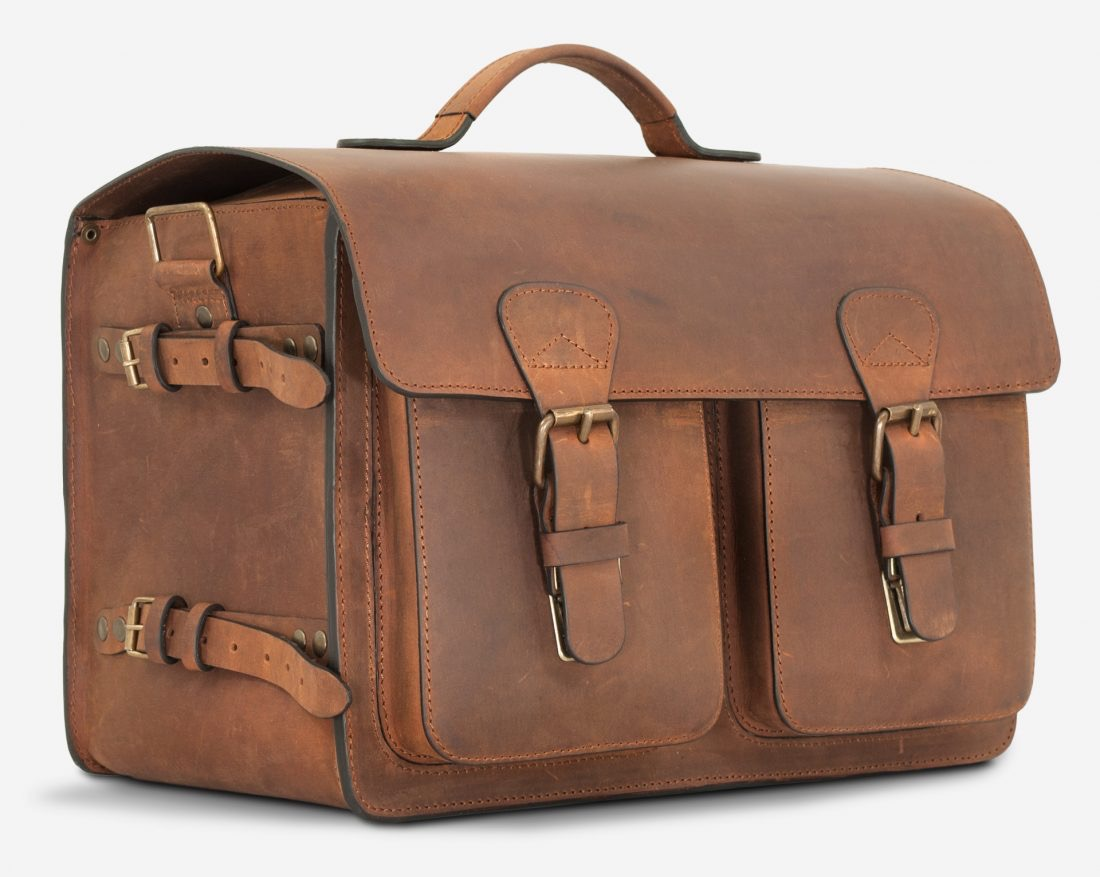 Side of the large brown leather camera bag with tripod hook.