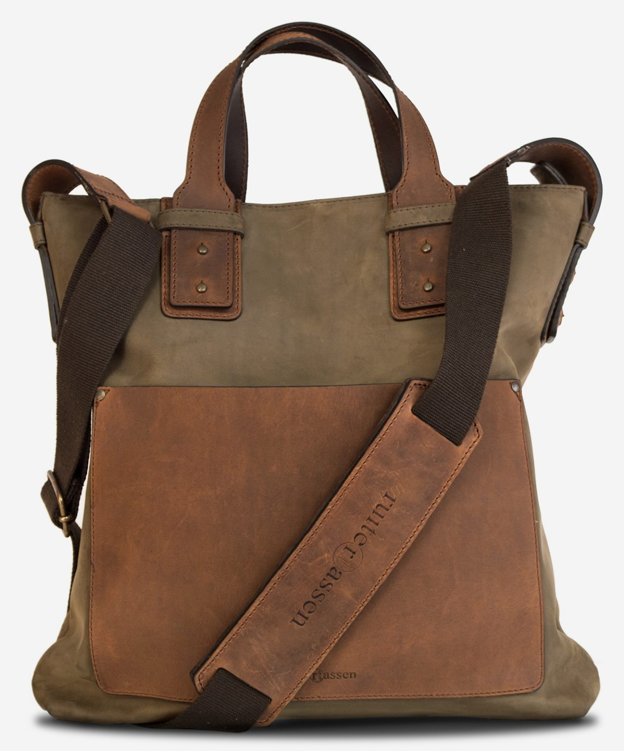 Front view of the rugged soft leather handbag for men with shoulder belt.