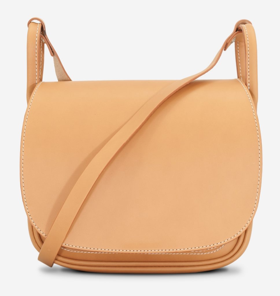 Front view of the elegant tan leather shoulder bag for women with leather strap.