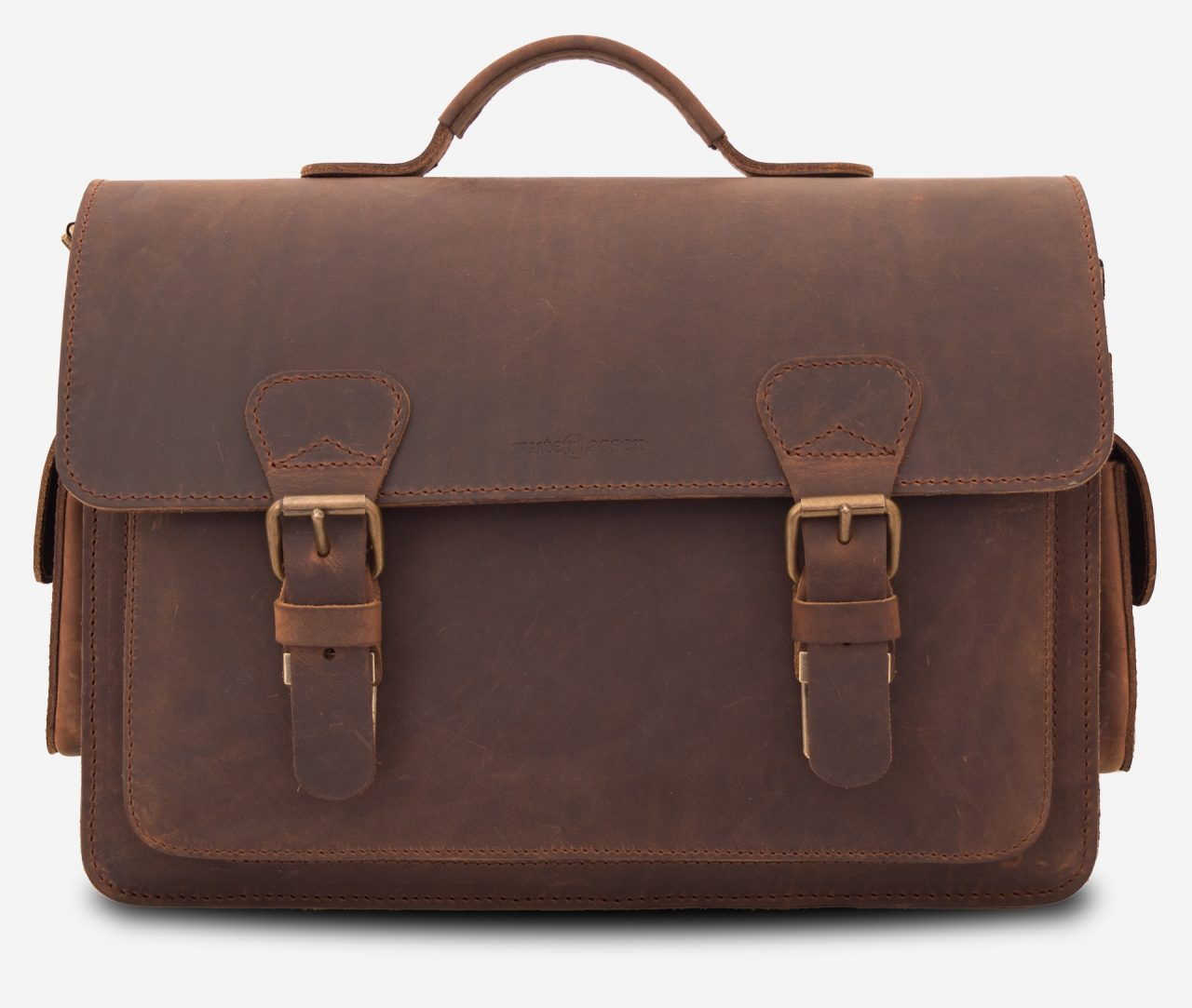 Vegetable tanned brown leather camera bag by Ruitertassen.