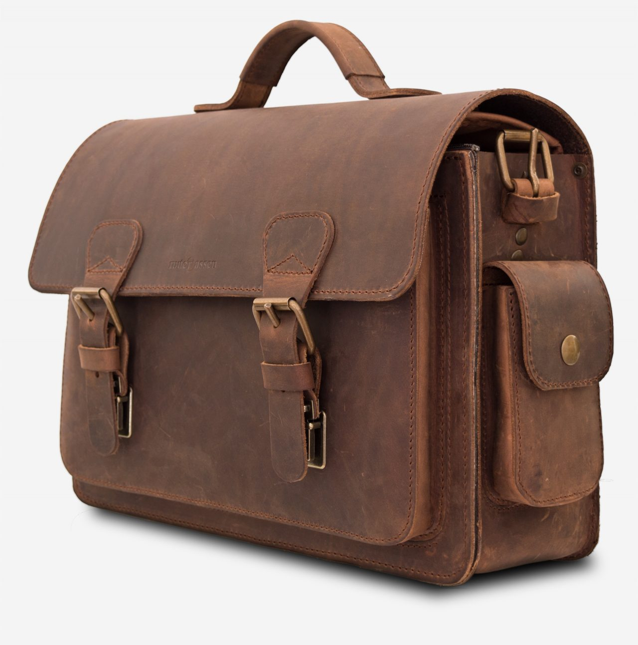 Side view of brown leather camera bag 733103.