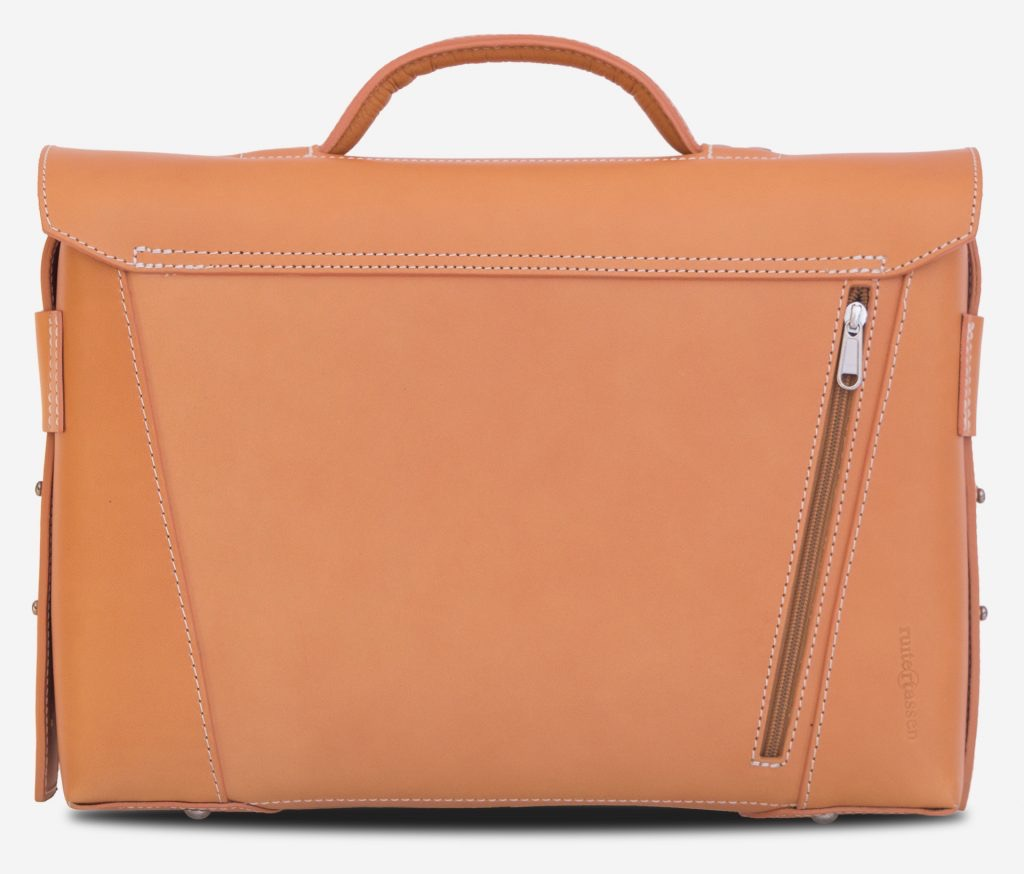 Back view of the vegetable tanned leather briefcase bag with back pocket - 102177.
