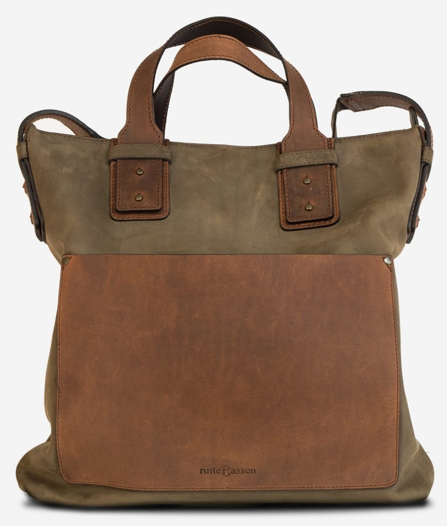 Front view of the rugged soft leather handbag for men.