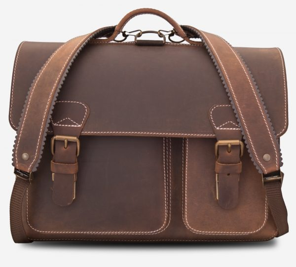 Front view of Ruitertassen brown leather satchel backpack with shoulder straps.