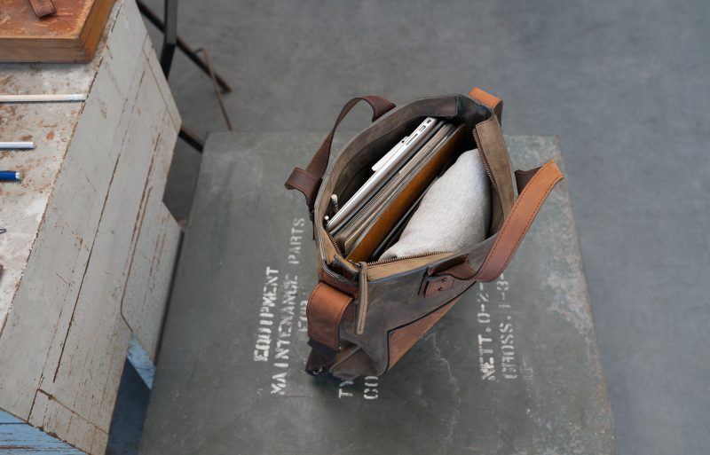 Top view of the handmade leather handbag for men.
