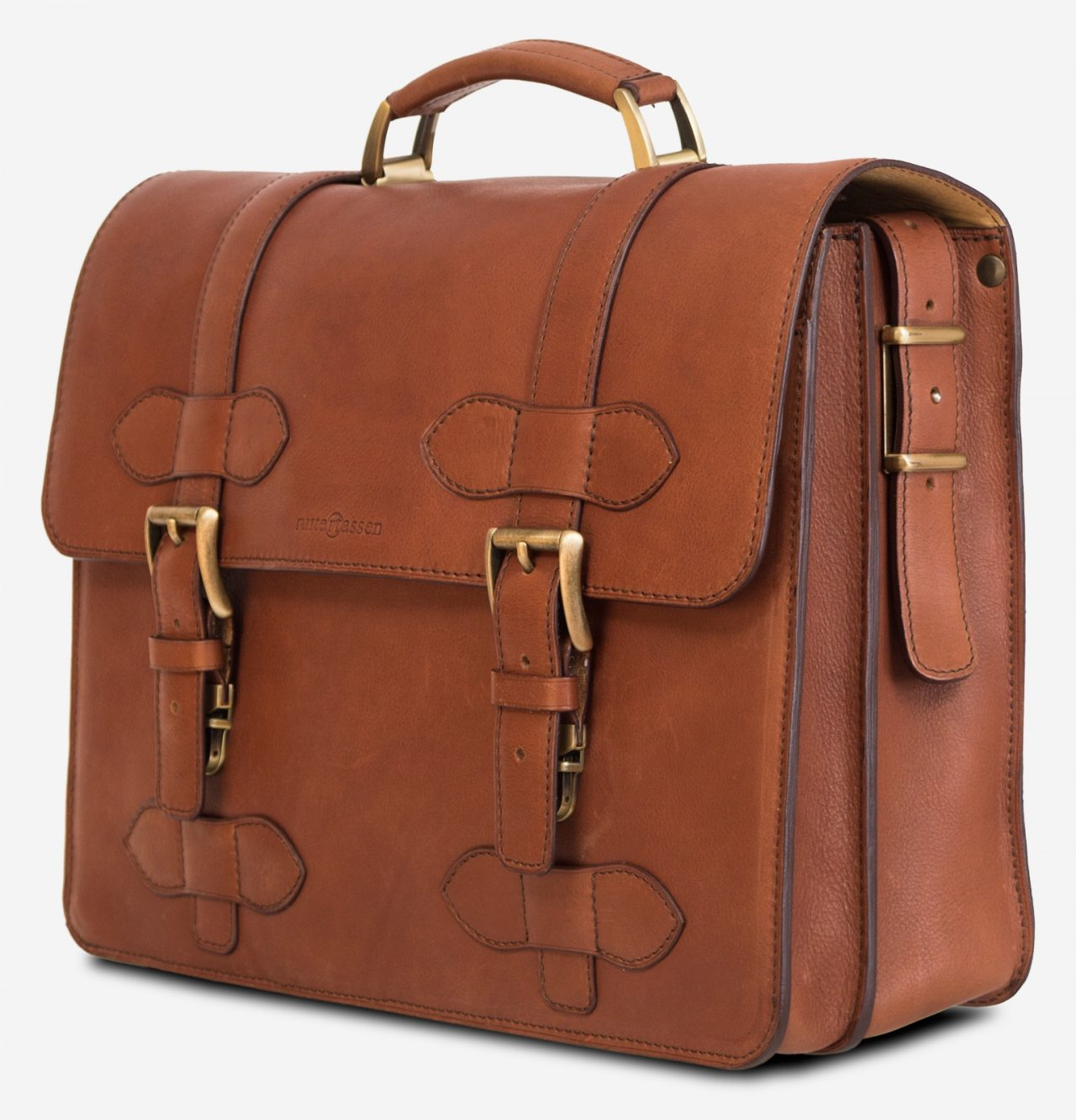 Side view of the handmade brown vegetable-tanned leather briefcase for men.