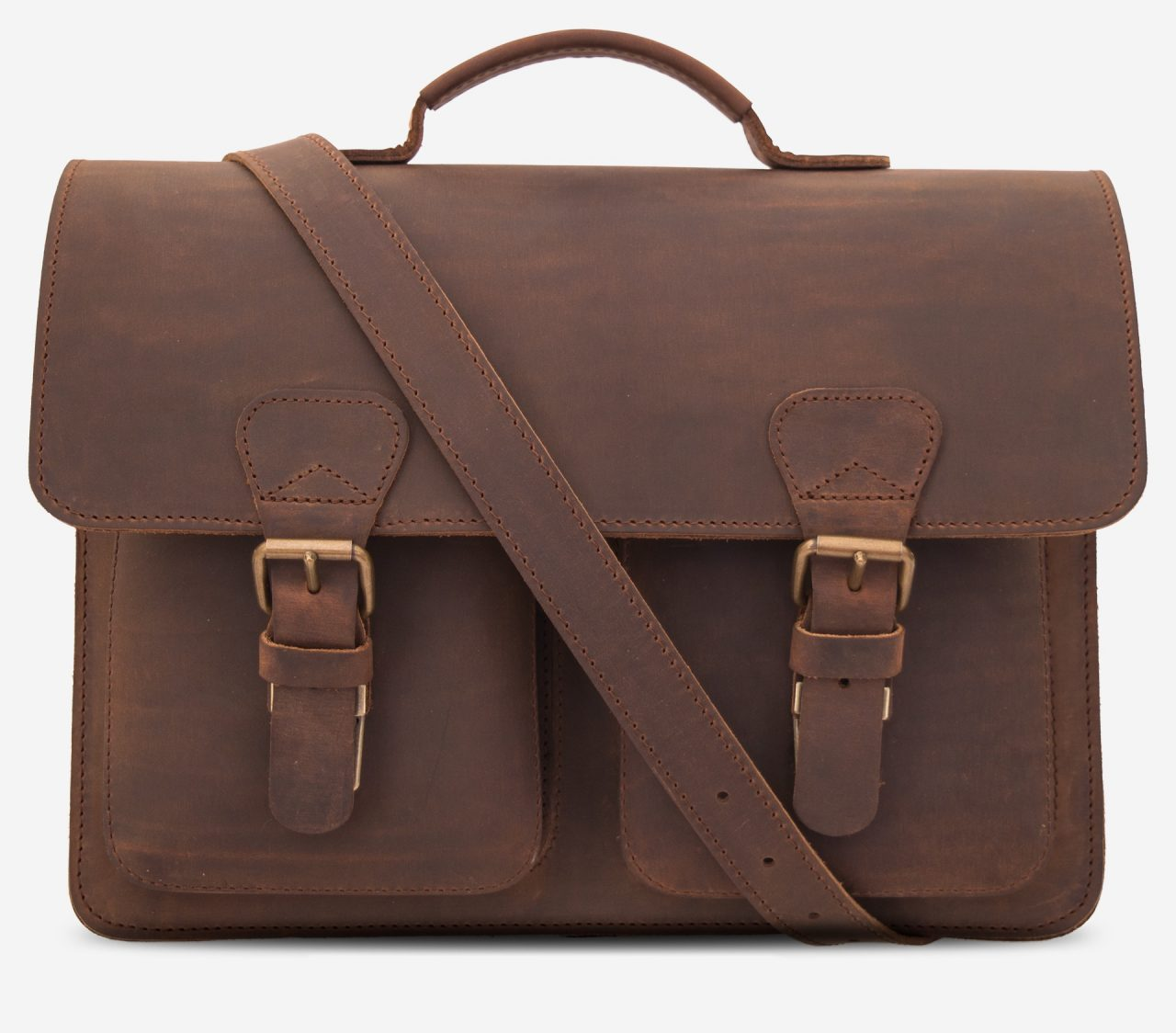 Front view of the brown leather satchel briefcase with a shoulder strap.