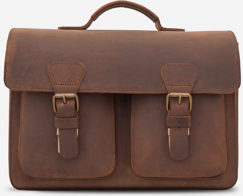 Front view of the vintage leather professor satchel.