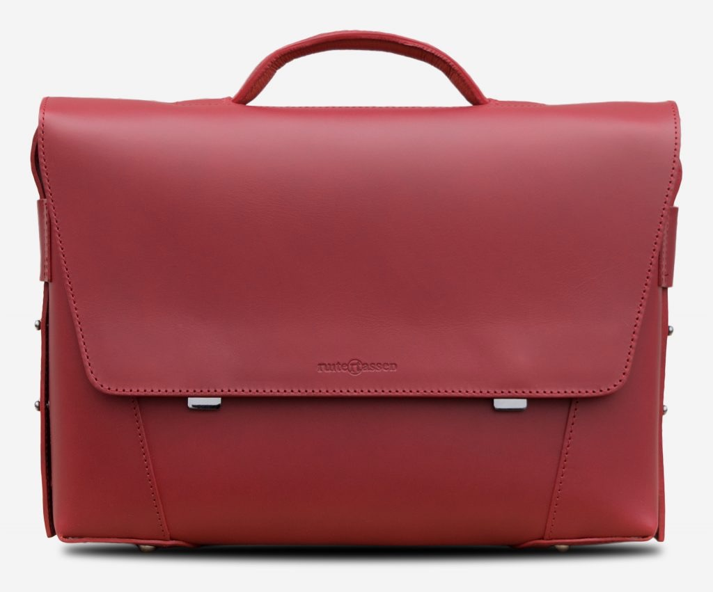 Front view of the elegant red vegetable-tanned leather briefcase bag with laptop pocket for women.