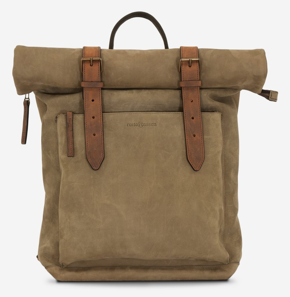 Front of the roll-top soft leather backpack.