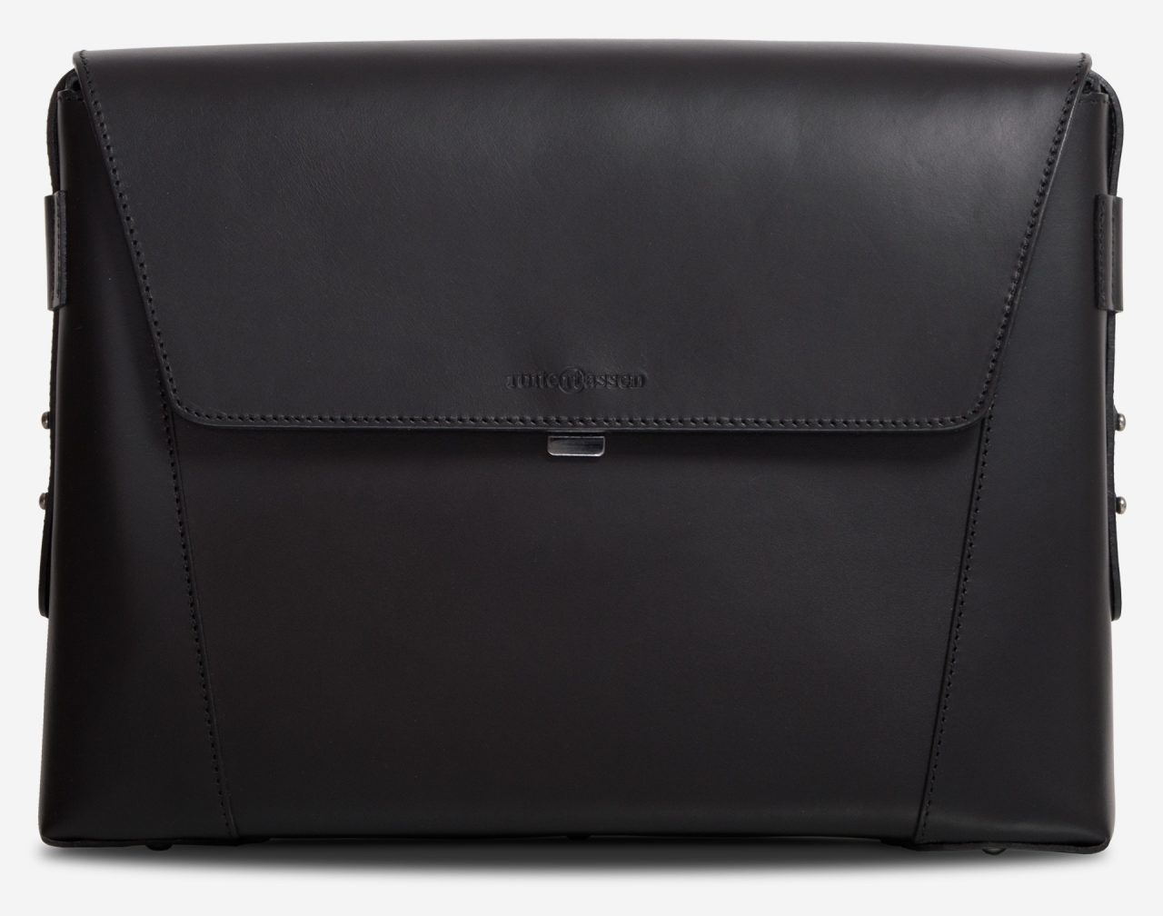 Front view of the slim vegetable-tanned black leather briefcase bag.