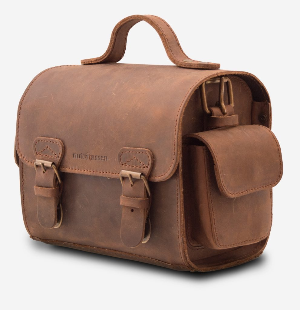 Side view of brown leather camera bag 733104.