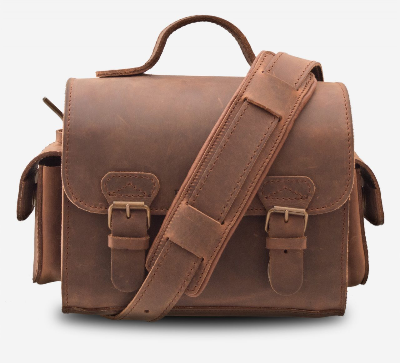 Front view of brown leather camera bag with shoulder strap 733104.