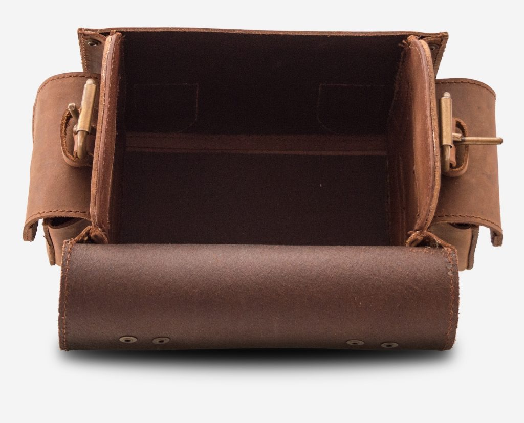 Inside view of small brown leather camera bag 733104.